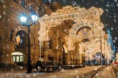 Kerstmis in Moskou Kerstmisdecoratie van Sinterklaas in Mos stock afbeeldingen