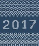 Kerstmis naadloos breiend patroon, nieuw jaar 2017 Royalty-vrije Stock Fotografie