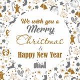 Kerstmis naadloos grijs en gouden patroon op witte achtergrond met herten, sneeuwman, suikergoed, sok, ster, sneeuwvlok met tekst vector illustratie