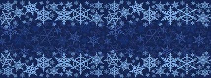 Kerstmis naadloos horizontaal patroon Kleurrijke sneeuwvlokken Royalty-vrije Stock Afbeelding