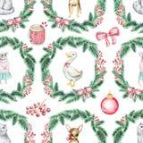 Kerstmis naadloos patroon als achtergrond met huisdieren royalty-vrije illustratie