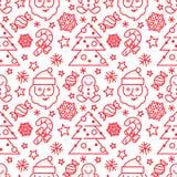 Kerstmis naadloos patroon - Kerstman en suikergoedriet Stock Foto