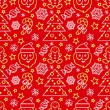 Kerstmis naadloos patroon - Kerstman en suikergoedriet Stock Afbeelding