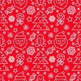 Kerstmis naadloos patroon - Kerstman en suikergoedriet Stock Illustratie