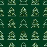 Kerstmis naadloos patroon - Kerstmisbomen Stock Fotografie