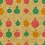 Kerstmis naadloos patroon met ballen in retro Royalty-vrije Stock Fotografie