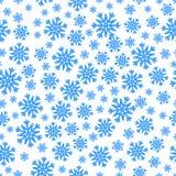 Kerstmis naadloos patroon met blauwe sneeuwvlokken Stock Afbeeldingen