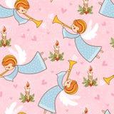 Kerstmis naadloos patroon met engelen die de trompet spelen stock illustratie