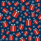Kerstmis naadloos patroon met giften, sneeuwvlokken Royalty-vrije Stock Fotografie