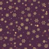 Kerstmis naadloos patroon met gouden sneeuwvlokken op donkere purpere pastelkleurachtergrond Vakantieontwerp voor Kerstmis en Nie royalty-vrije illustratie