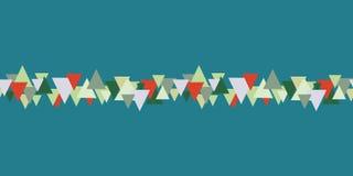 Kerstmis naadloos patroon met groene en rode driehoeken op groen achtergrond abstract grens naadloos patroon stock illustratie