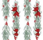 Kerstmis naadloos patroon met hand getrokken illustratie op wit Stock Foto