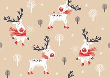 Kerstmis naadloos patroon met herten Stock Afbeelding