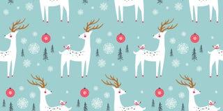 Kerstmis naadloos patroon met herten Royalty-vrije Stock Foto