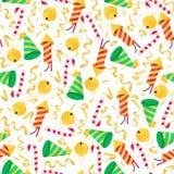 Kerstmis naadloos patroon met kleurrijk voorwerp Het ontwerpelement van het nieuwjaar Stock Foto's