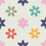 Kerstmis Naadloos Patroon met kleurrijke hand getrokken sneeuwvlokken Royalty-vrije Stock Fotografie
