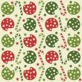 Kerstmis naadloos patroon met koekjes en suikergoedriet stock illustratie