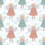 Kerstmis naadloos patroon met leuke engelen met klok royalty-vrije illustratie