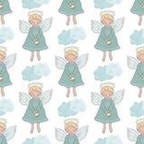 Kerstmis naadloos patroon met leuke engelen met klok Royalty-vrije Stock Afbeelding