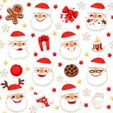 Kerstmis Naadloos Patroon met Santa Claus Isolated royalty-vrije stock foto