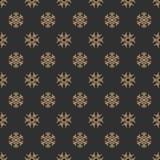 Kerstmis naadloos patroon met sneeuwvlok gouden kleur op zwarte achtergrond Royalty-vrije Stock Fotografie