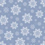 Kerstmis naadloos patroon met sneeuwvlokken op grijs-blauw backgr Stock Afbeelding