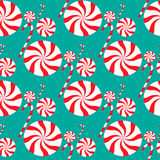 Kerstmis naadloos patroon met suikergoed Royalty-vrije Stock Foto's