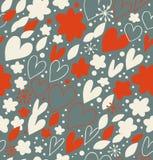 Kerstmis naadloos patroon met vele leuke details Hand getrokken krabbelachtergrond met harten en bloemen Overladen damasttextuur vector illustratie