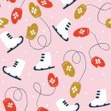 Kerstmis Naadloos Patroon met Vleten en Vuisthandschoenen Royalty-vrije Illustratie