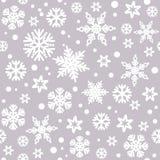 Kerstmis naadloos patroon met witte sneeuwvlokken stock illustratie