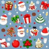Kerstmis Naadloos Patroon op Blauw royalty-vrije stock foto