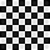 Kerstmis naadloos patroon op schaakbordachtergrond Het Behang van het nieuwjaar De winter het zwart-witte verpakken met sneeuwvlo Royalty-vrije Stock Foto's