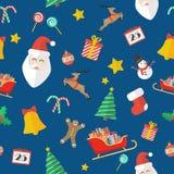 Kerstmis naadloos patroon in vlakke stijl Stock Afbeelding