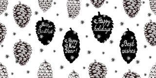 Kerstmis naadloze achtergrond met denneappels stock illustratie