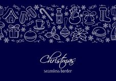 Kerstmis naadloze horizontale grens Silhouetten van de winterelementen Stock Foto's
