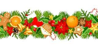 Kerstmis Naadloze Slinger Vector illustratie stock illustratie