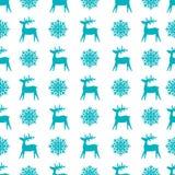 Kerstmis naadloze textuur met rendier en sneeuwvlokken Stock Foto