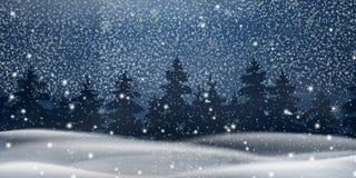 Kerstmis, nacht Sneeuw Boslandschap De achtergrond van de winter Het landschap van de vakantiewinter voor Vrolijke Kerstmis met s stock illustratie