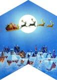Kerstmis nacht-vormig dak Stock Afbeeldingen