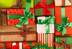 Kerstmis, nieuw jaar en andere vakantiedozen Gewas, close-up Royalty-vrije Stock Afbeelding