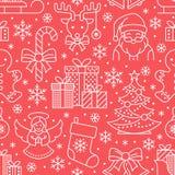 Kerstmis, nieuw jaar naadloos patroon, lijnillustratie De vectorboom van de vakantiekerstmis van de pictogrammenwinter, giften, b Stock Afbeelding