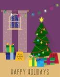 Kerstmis of nieuw jaarbinnenland Stock Afbeelding