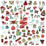 Kerstmis, nieuwe geplaatste jaarpictogrammen Gekleurde Krabbel Royalty-vrije Stock Foto