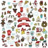 Kerstmis, nieuwe geplaatste jaarpictogrammen Gekleurde Krabbel Stock Foto