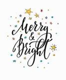 Kerstmis nieuwe jaar het van letters voorzien typografie Stock Fotografie