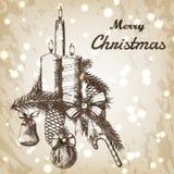 Kerstmis of Nieuwe jaarhand getrokken vectorillustratie De spartak met ornamenten, de boog, het suikergoed en de kaarsen schetsen Stock Afbeeldingen