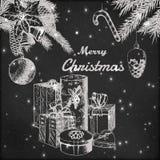 Kerstmis of Nieuwe jaarhand getrokken vectorillustratie Spartakken met ornamenten en van giftdozen schets, uitstekende stijl Royalty-vrije Stock Fotografie