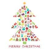 Kerstmis, nieuwe jaarpictogrammen in de vorm van de spurceboom, Stock Fotografie