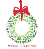 Kerstmis, nieuwe jaarpictogrammen in kroonvorm, Krabbels Royalty-vrije Stock Afbeeldingen