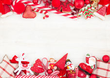 Kerstmis of Nieuwjaar als thema gehade kaart met decoratie Royalty-vrije Stock Afbeeldingen